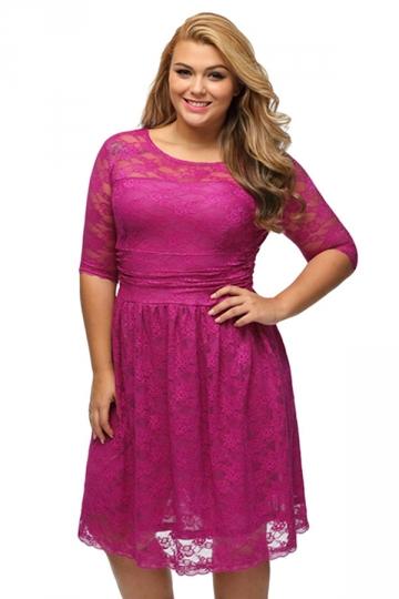 Womens Three Quarters Sleeves Lace Wedding Plus Size Dress Rose ...