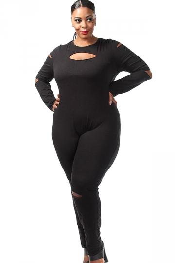 Womens Plus Size Long Sleeve Ripped Zipper Back Jumpsuit