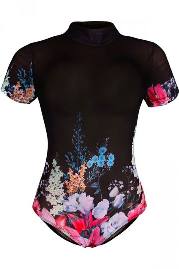 Womens One Piece Flower Printed Short Sleeve Classic Swimsuit Black - PINK QUEEN
