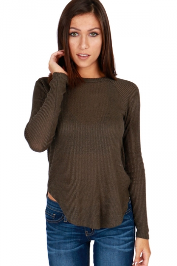 Womens open back long sleeve plain pullover t shirt gray for Long sleeve open shirt