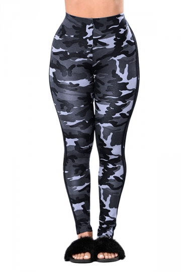Womens Camouflage Sport Leggings Light Gray Pink Queen