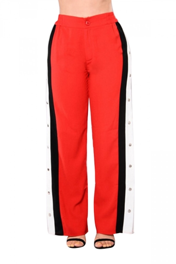 Women Sexy Side Stripe Splits Button High Waist Pants