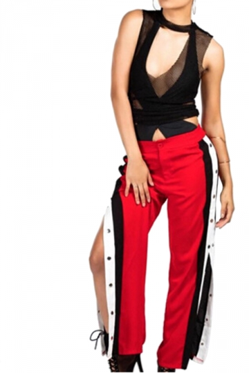Women Sexy Side Stripe Splits Button High Waist Pants Red