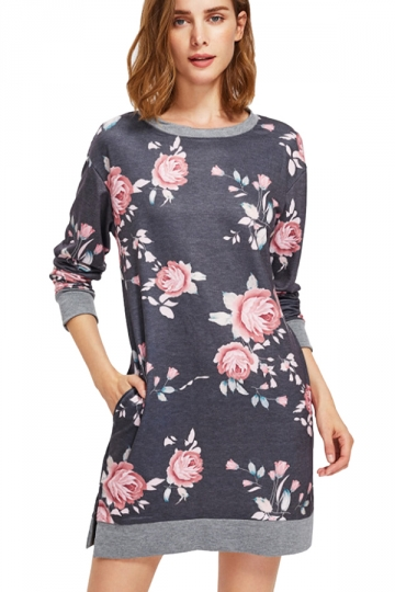 Womens crew neck long sleeve flower printed shirt dress for Dark grey shirt dress