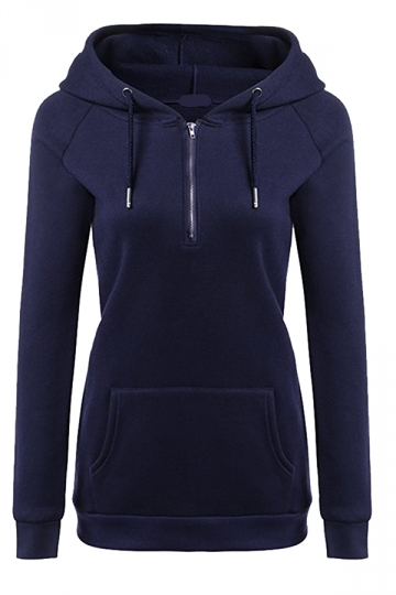 Womens Lined Zip Up Drawstring Hoodie With Kangaroo Pocket