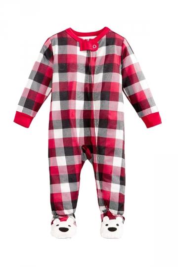 Baby Plaid Bear Printed Family Christmas Footie Pajama
