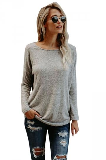 Womens Sexy Crew Neck Long Sleeve Plain Open Back T Shirt