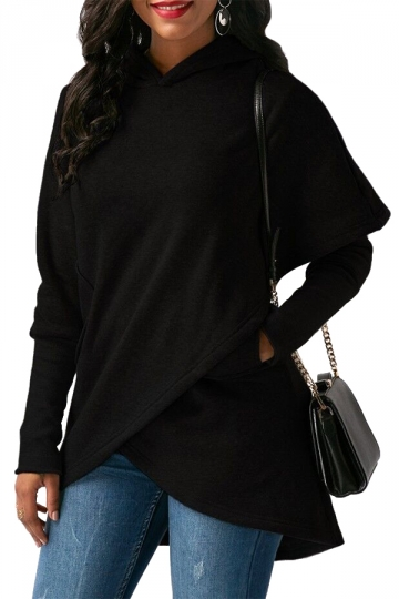 Womens Long Sleeve With Pocket Asymmetrical Hem Plain