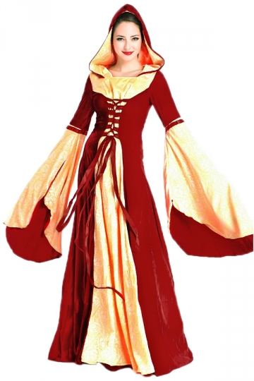 Womens Medieval Gown Halloween Costumes Red