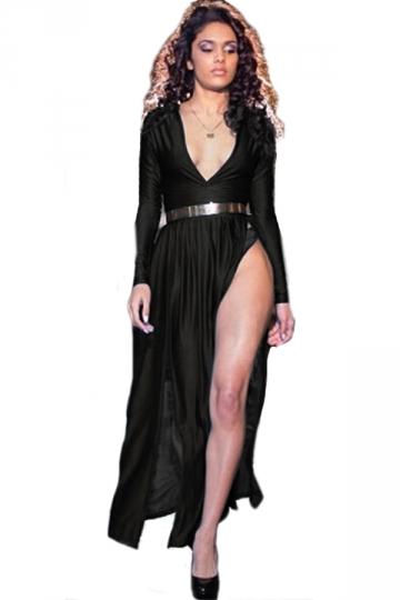 Black Low Cut Long Sleeves Slit Sexy Ladies Fancy Maxi